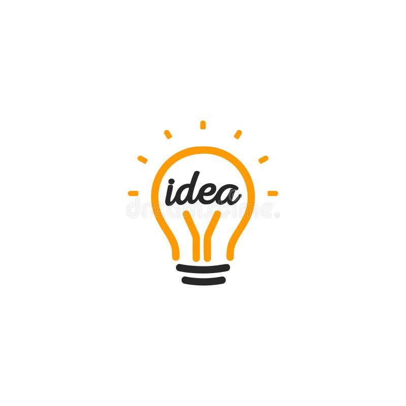 Logotipo anaranjado abstracto aislado del contorno de la bombilla del color, encendiendo el logotipo en el fondo blanco, vector d stock de ilustración