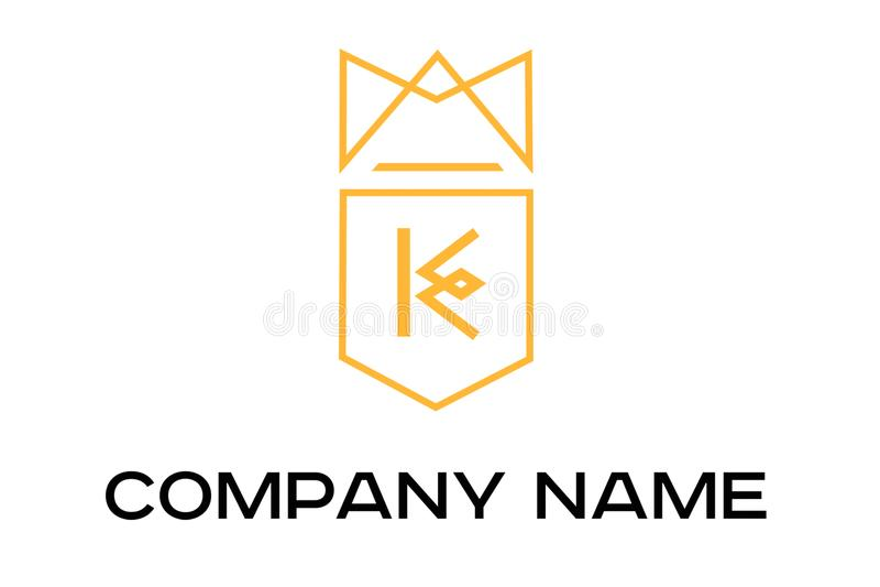 Logotipo anaranjado del vector con la letra K stock de ilustración