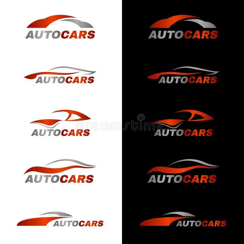 Logotipo anaranjado gris del coche en fondo blanco y negro libre illustration