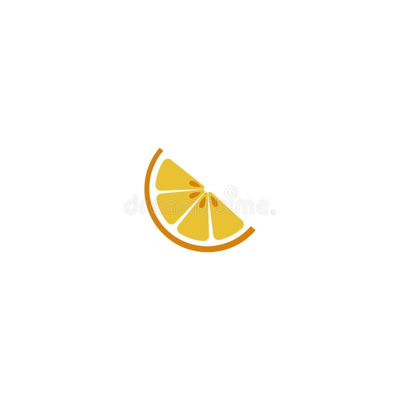 Logotipo anaranjado Media naranja aislada con las semillas en el fondo blanco EPS 10 Ilustración del vector stock de ilustración