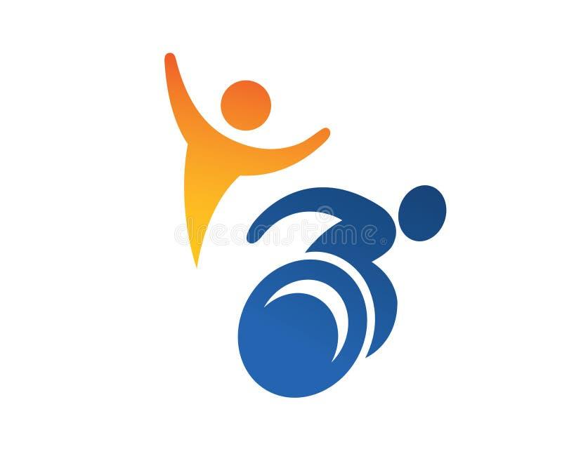 Logotipo apaixonado moderno do apoio dos povos da inabilidade ilustração do vetor