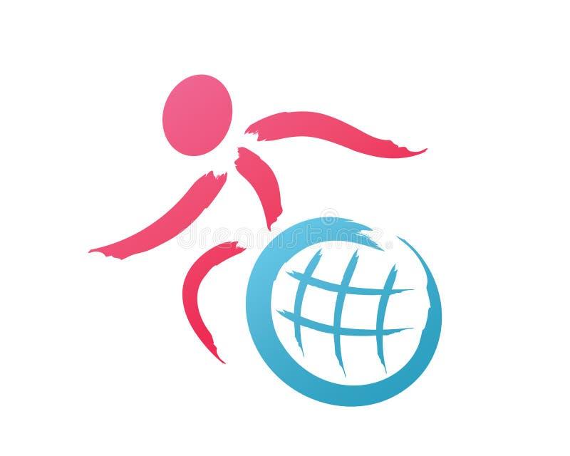Logotipo apaixonado moderno do apoio dos povos da inabilidade ilustração stock