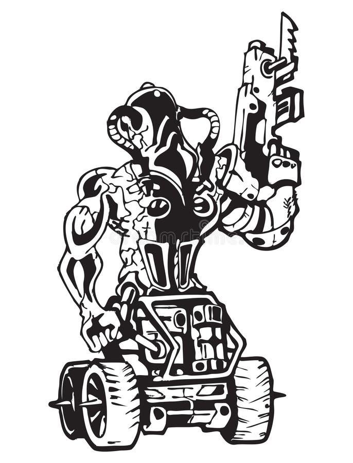 Logotipo apocalíptico de la apocalipsis del soldado del poste ilustración del vector