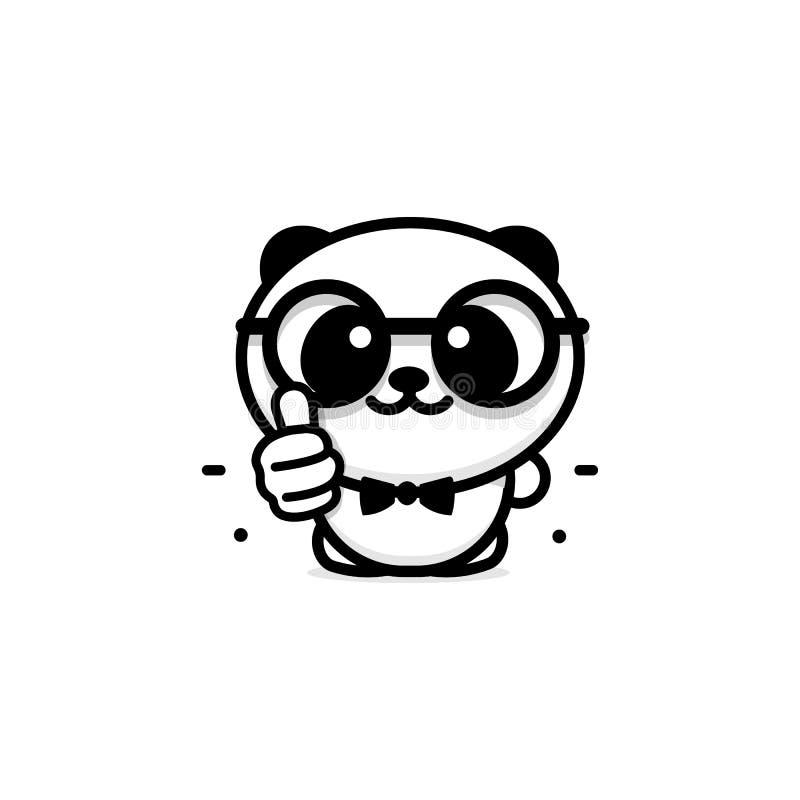 Logotipo APROVADO Panda bonito pequena engraçada que mostra o gesto com mão, o símbolo abstrato da aprovação e a adoção Polegares ilustração do vetor