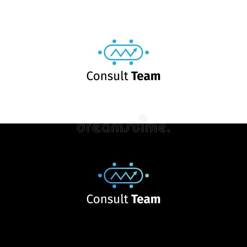 Logotipo asesor del negocio Muestra de la compañía del analytics de los datos ilustración del vector