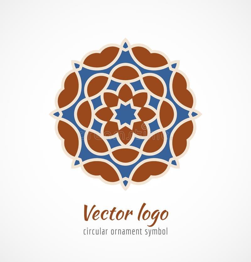 Logotipo asiático rojo y azul abstracto del símbolo del ornamento ilustración del vector