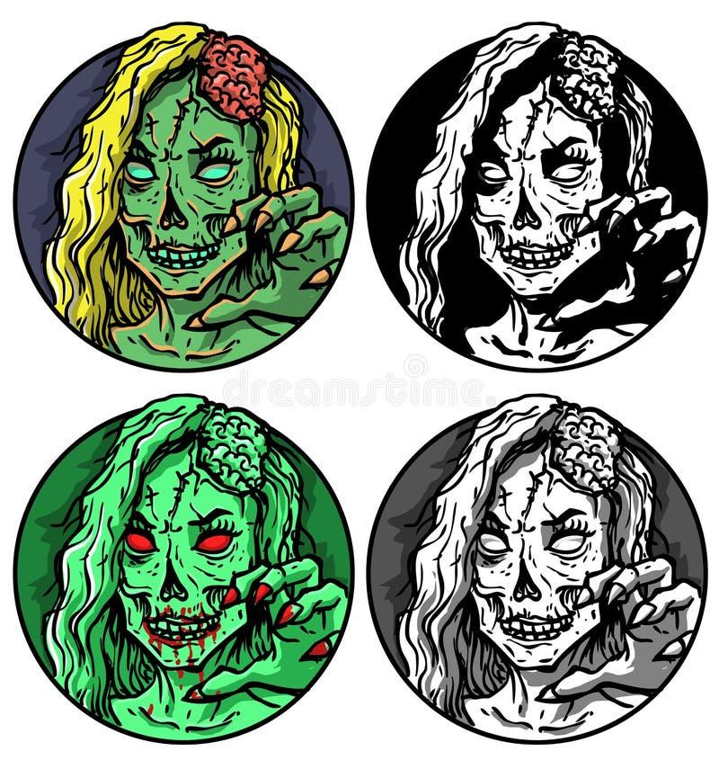 Logotipo assustador da arte da mulher do zombi ilustração do vetor