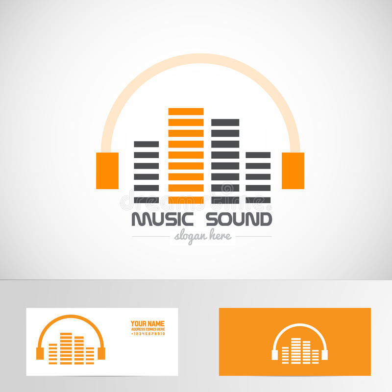 Logotipo audio de los auriculares del sonido del volumen de la música stock de ilustración