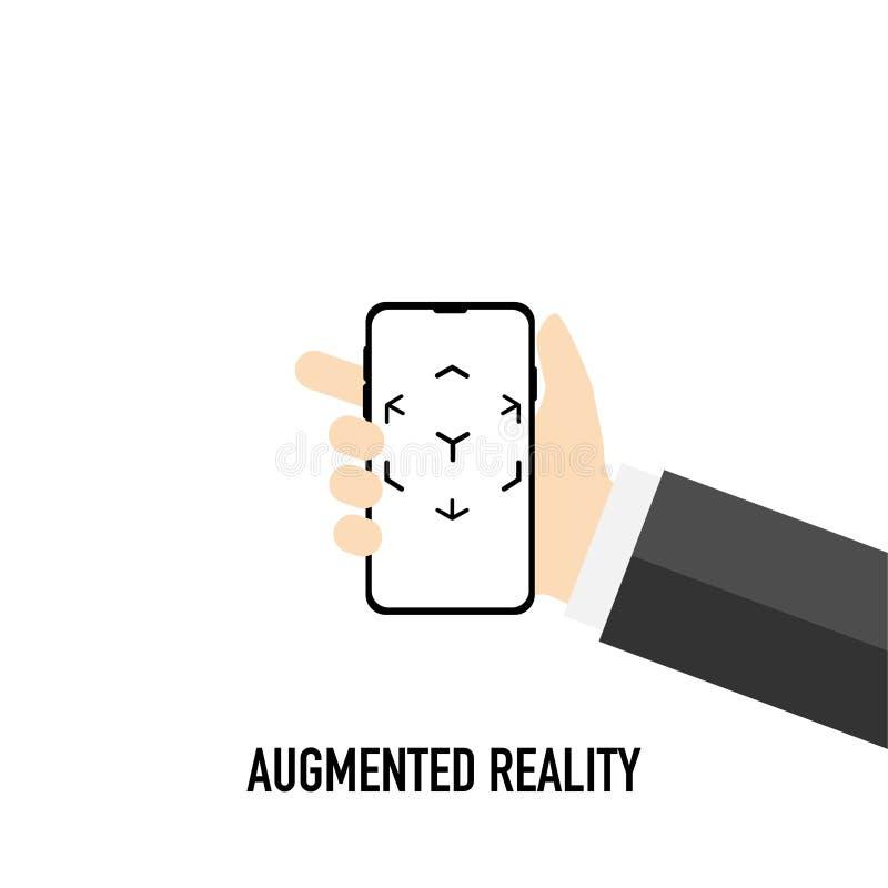 Logotipo aumentado da realidade virtual preto e branco ilustração royalty free