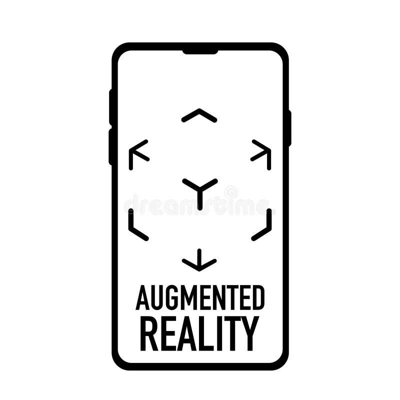 Logotipo aumentado de la realidad virtual blanco y negro stock de ilustración