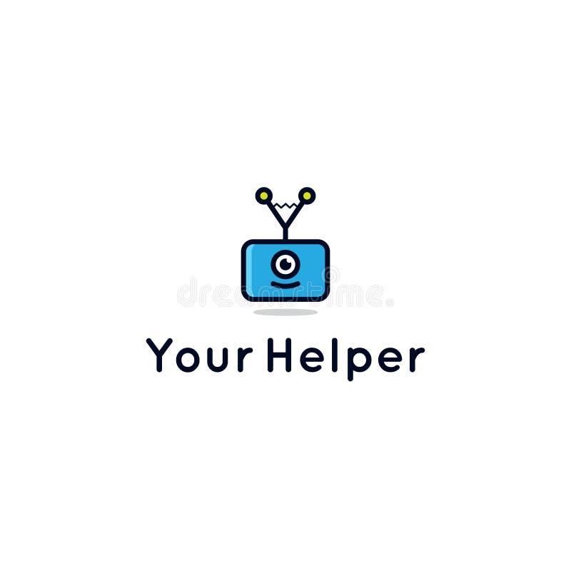 Logotipo auxiliar del robot para el centro de la consulta o de la ayuda stock de ilustración