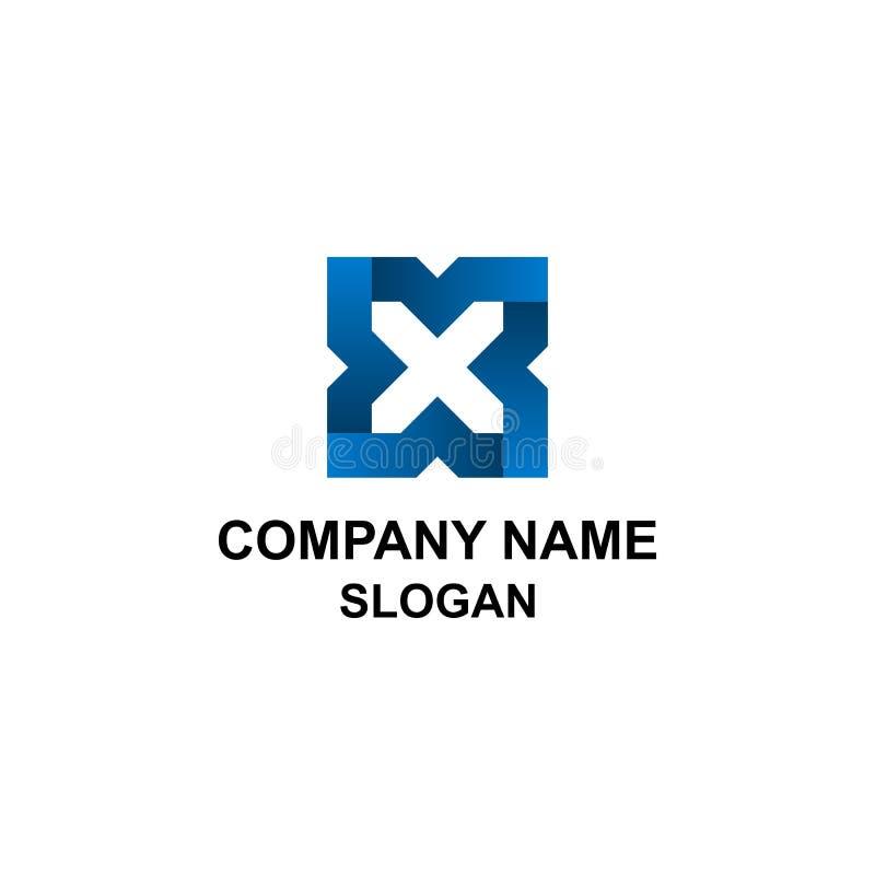 Logotipo azul abstracto de la inicial de la letra de X stock de ilustración