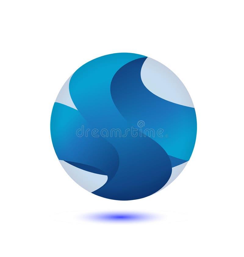 Logotipo azul abstrato da esfera do globo ilustração royalty free