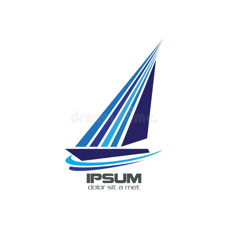 Logotipo azul abstrato do iate ilustração stock