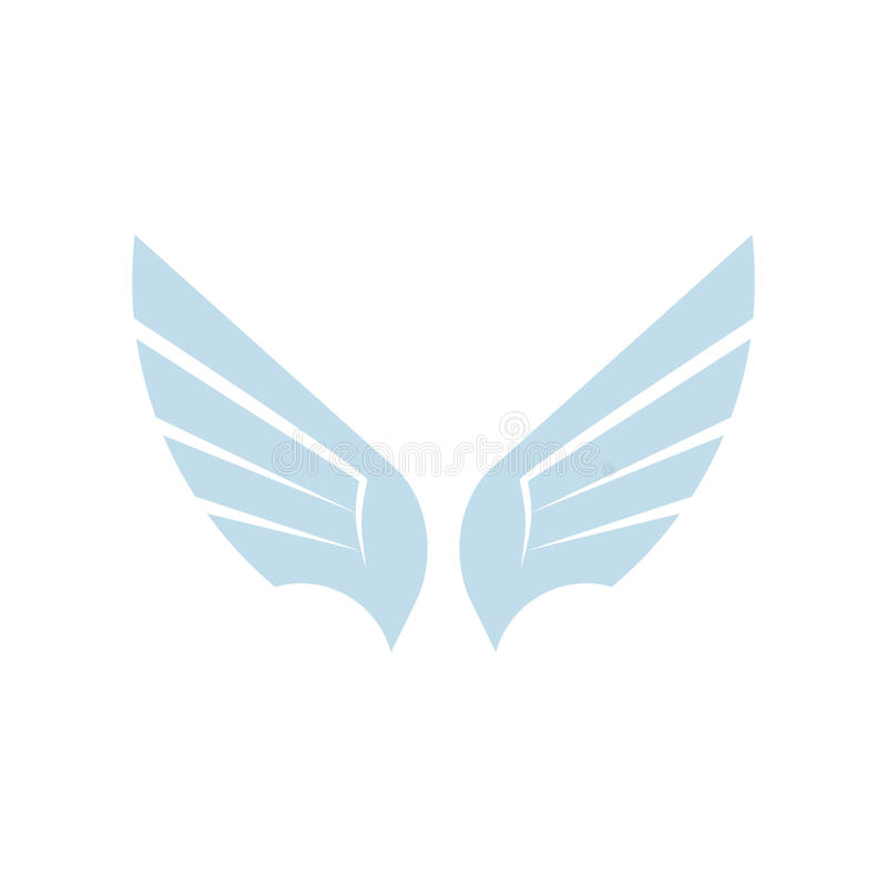 Logotipo azul abstrato isolado do elemento do pássaro da cor Asas de espalhamento com logotype das penas Ícone do voo Sinal do ar ilustração do vetor
