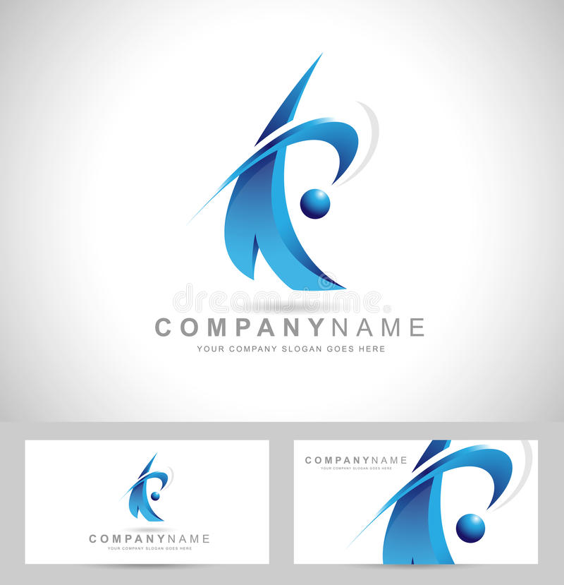 Logotipo azul corporativo libre illustration