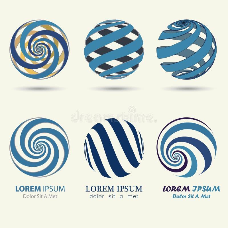 Logotipo azul da esfera, símbolo do redemoinho, bola espiral ilustração stock