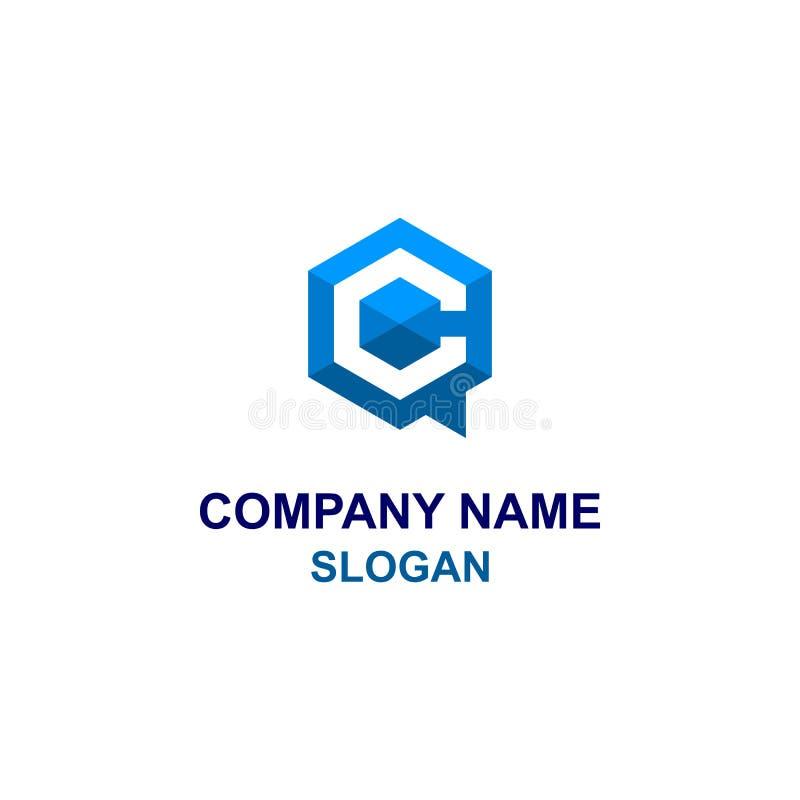 Logotipo azul da mensagem do hexágono C ilustração stock