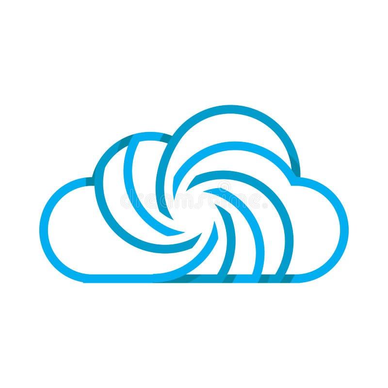 Logotipo azul da nuvem com muitos giro ilustração do vetor