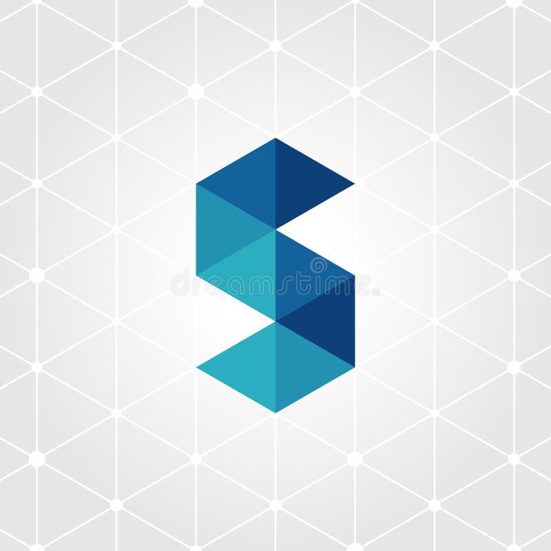 Logotipo azul de la letra S ilustración del vector