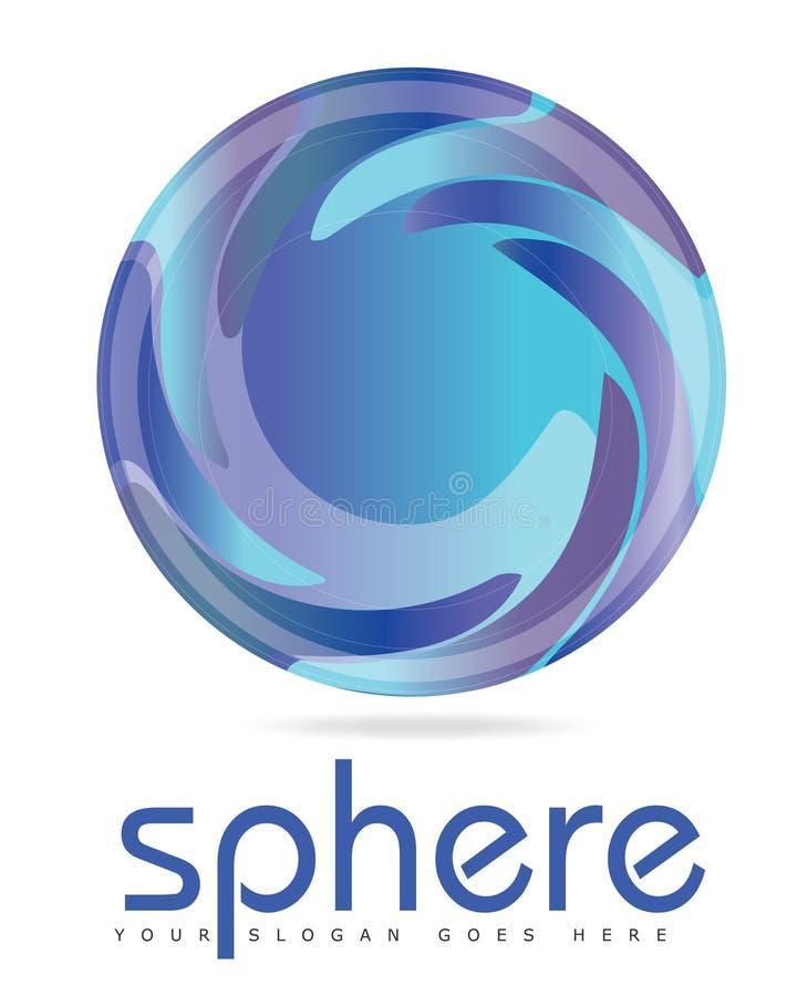 Logotipo azul do círculo da esfera com um olhar 3D ilustração stock