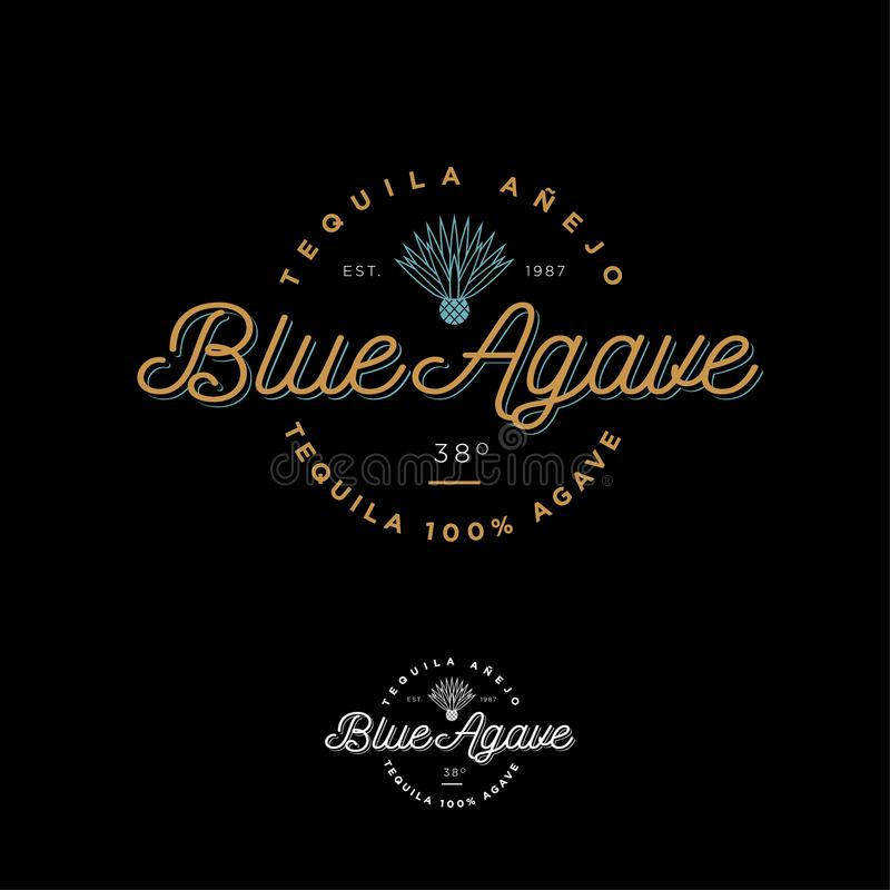 Logotipo azul do tequila da agave Emblema para a etiqueta Letras bonitas e um ícone da agave ilustração royalty free