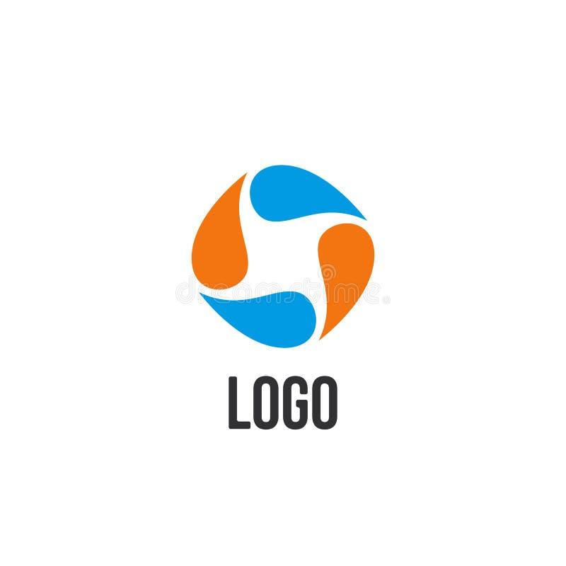 logotipo azul e alaranjado abstrato do círculo das gotas Logotype líquido da circulação ilustração do vetor