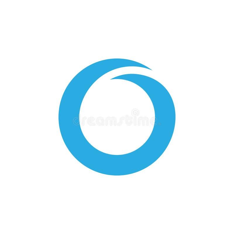 Logotipo azul geométrico simple del círculo de la onda stock de ilustración