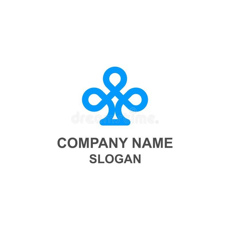 Logotipo azul minimalista do trevo ilustração royalty free