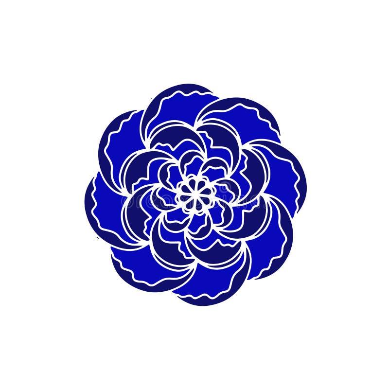 Logotipo azul y negro del concepto del vector de la flor orgánico Elemento de la primavera escandinava o del diseño floral del ve ilustración del vector