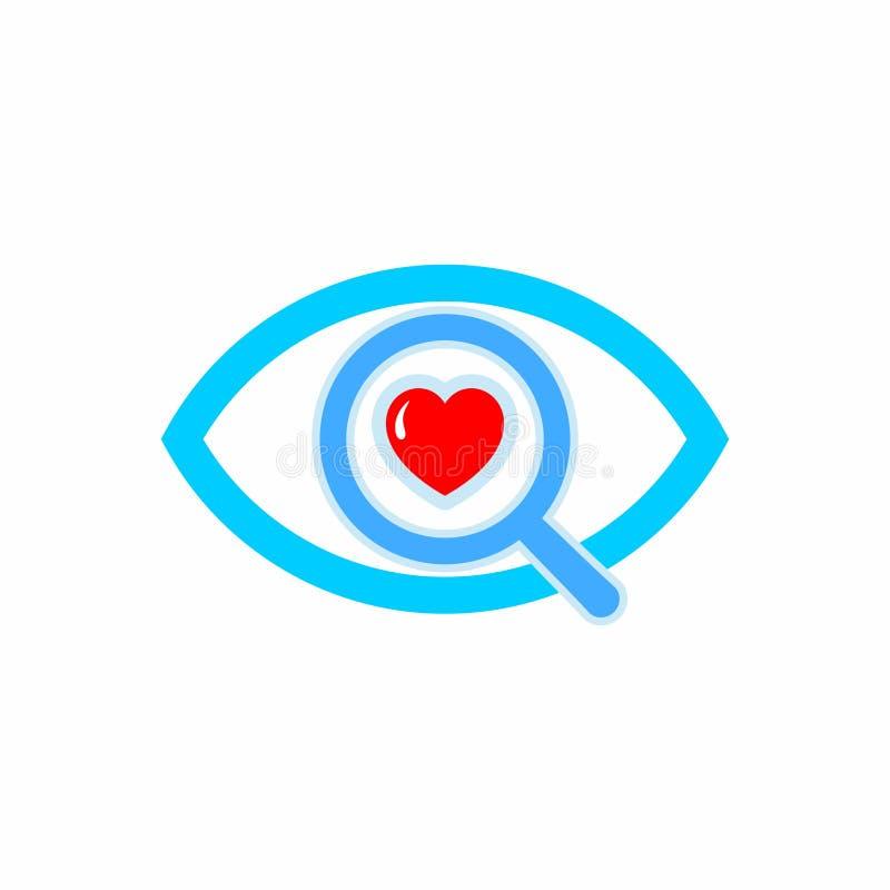 LOGOTIPO Búsqueda del icono del amor ilustración del vector