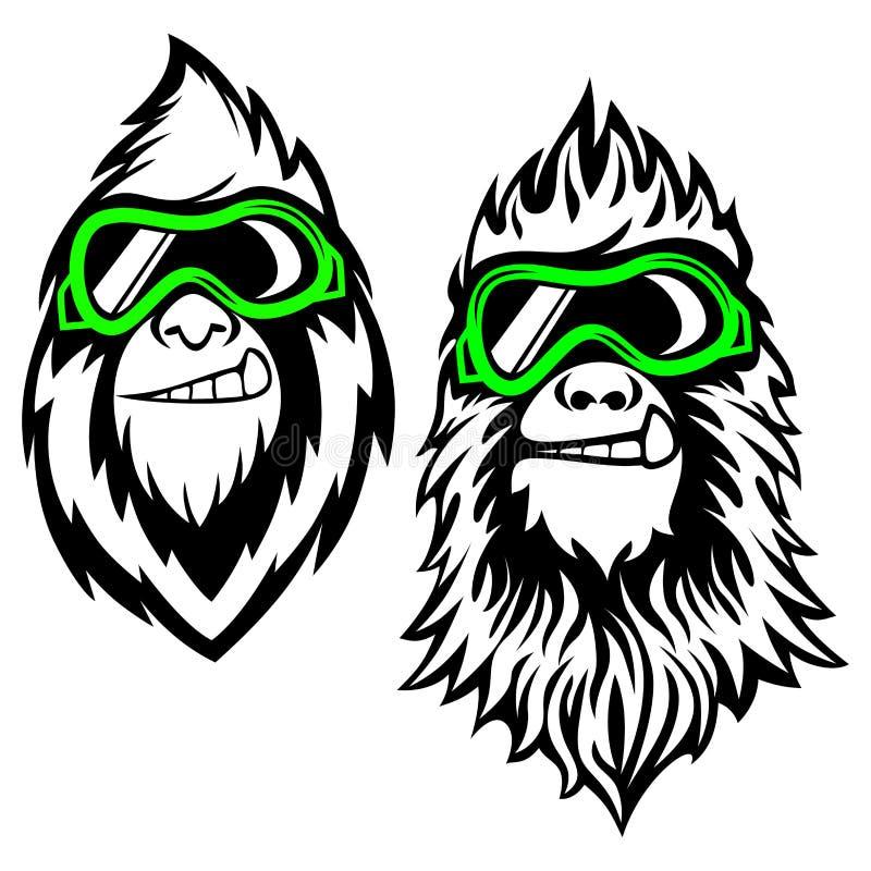 Logotipo barbudo divertido del yeti Ilustración del vector ilustración del vector