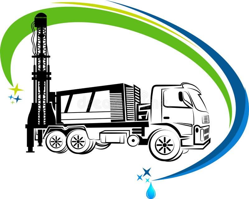 Logotipo bien del camión de la perforación stock de ilustración