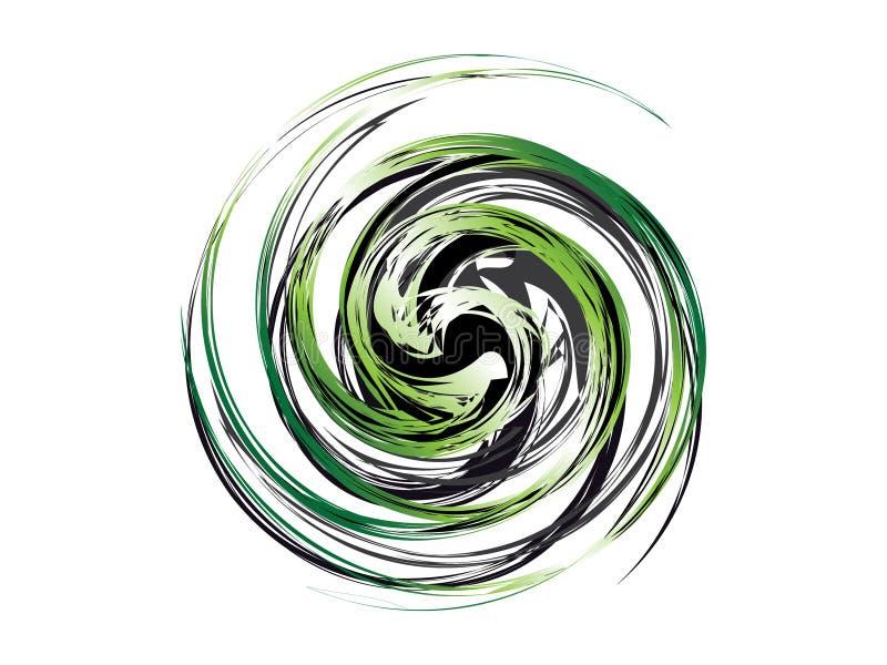 Logotipo blanco negro verde abstracto del remolino stock de ilustración