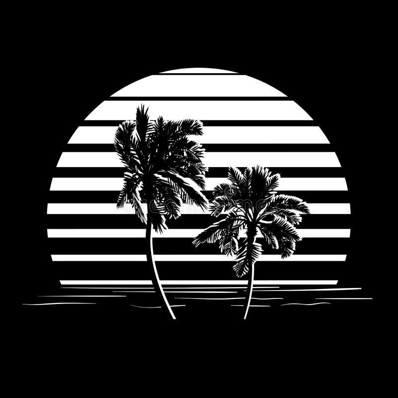Logotipo blanco y negro de las rayas con las palmeras fotos de archivo