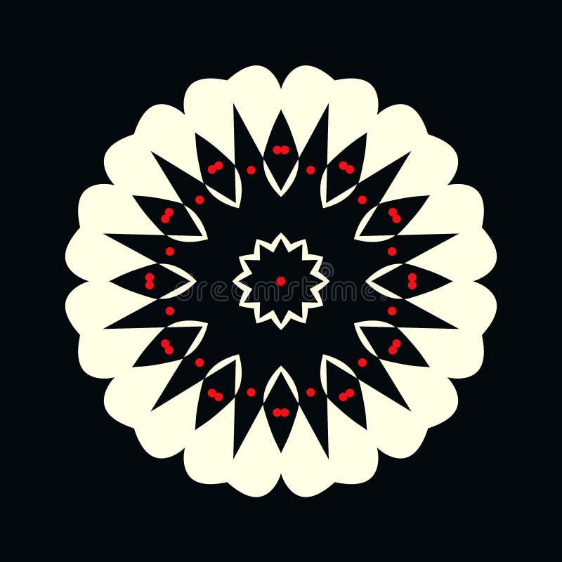 Logotipo blanco y negro decorativo con los puntos rojos en la forma de una flor stock de ilustración