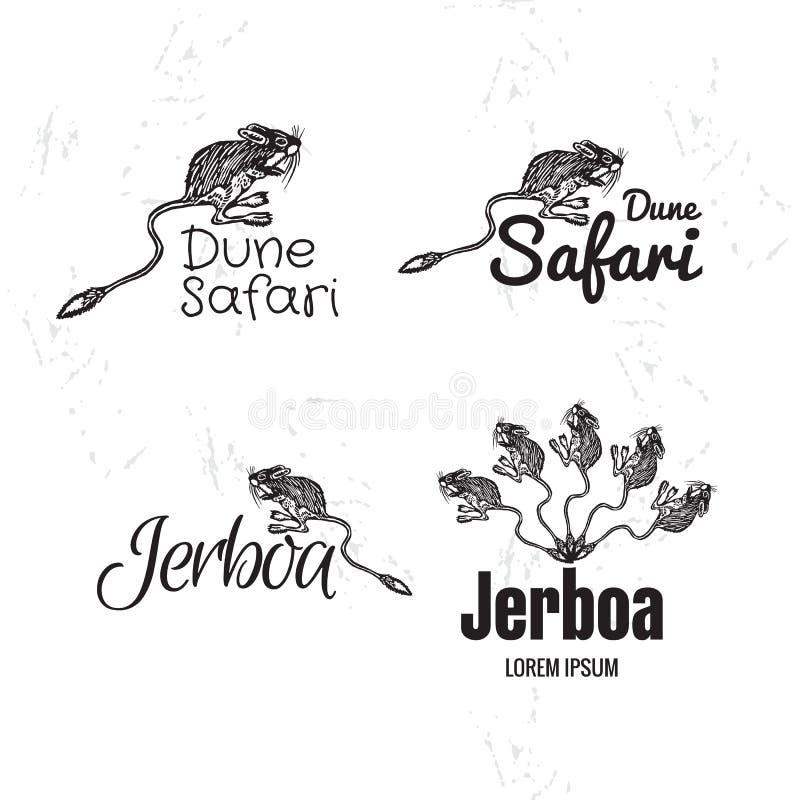 Logotipo blanco y negro del vector fijado con jerbo del desierto stock de ilustración