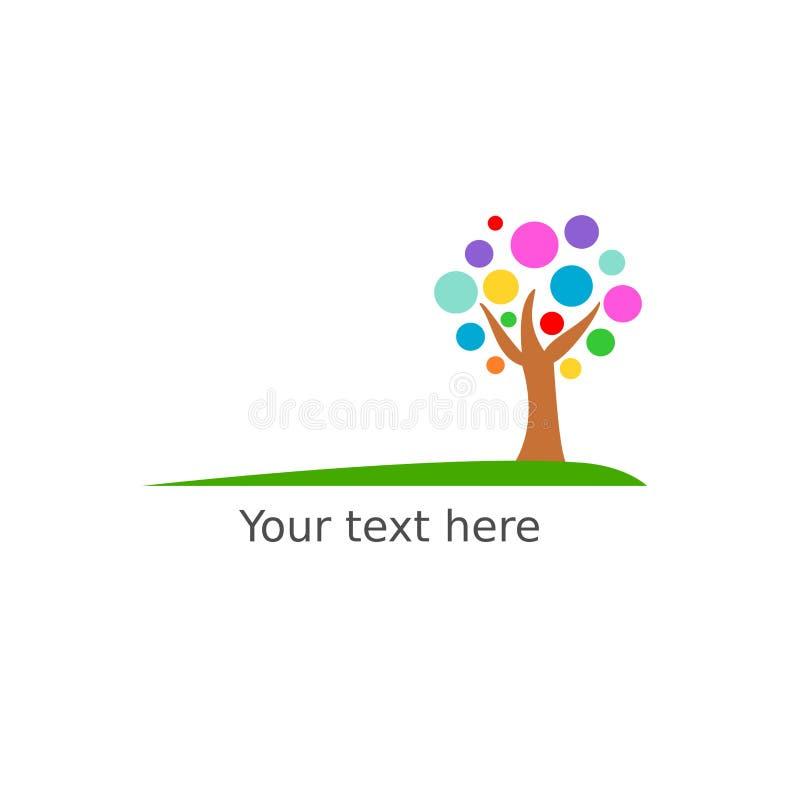Logotipo bonito da árvore com ilustração colorida dos círculos ilustração stock