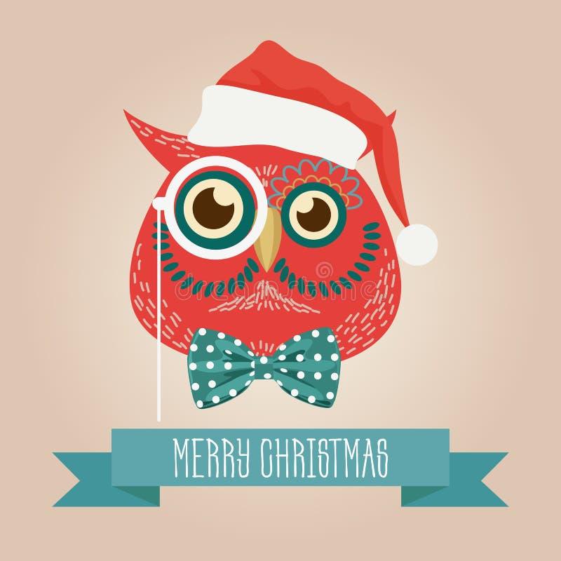 Logotipo bonito da cabeça do pássaro da coruja da floresta do Natal Vector o animal elegante moderno do pássaro da coruja do mode ilustração do vetor