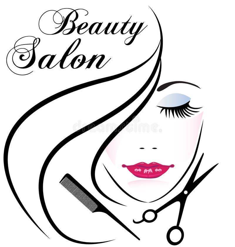 Logotipo bonito da cara do cabelo da mulher do salão de beleza ilustração stock