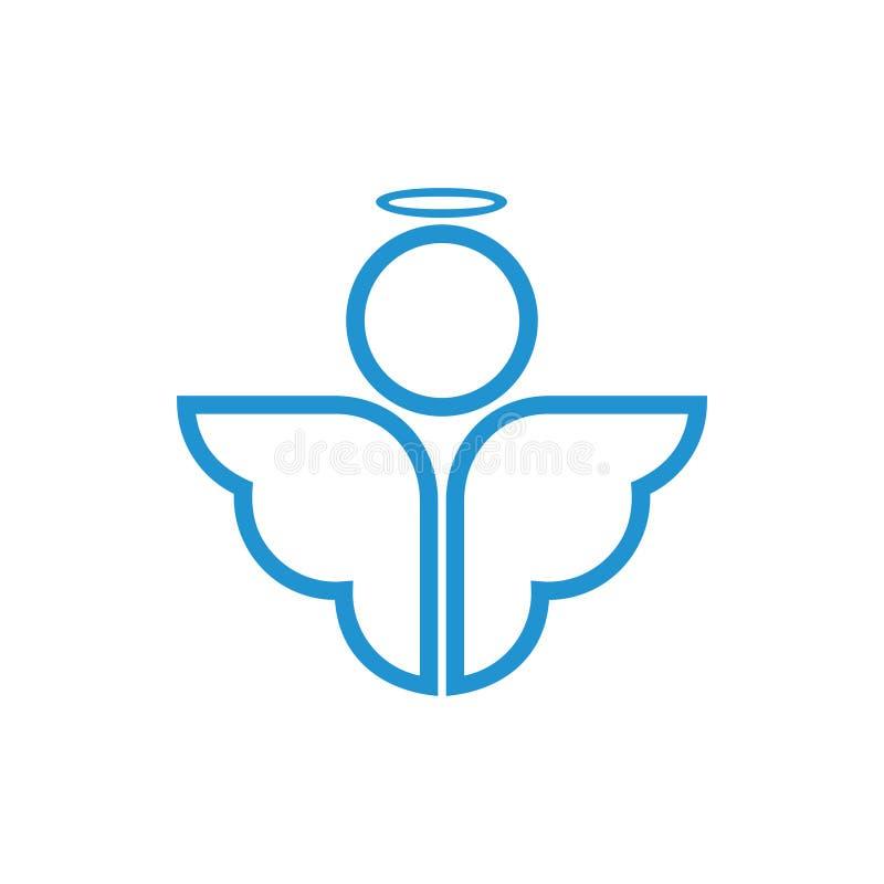 Logotipo bonito das asas simples do anjo ilustração royalty free