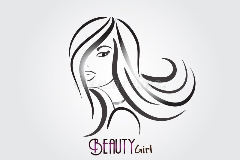 Logotipo bonito del icono de la mujer de la belleza ilustración del vector