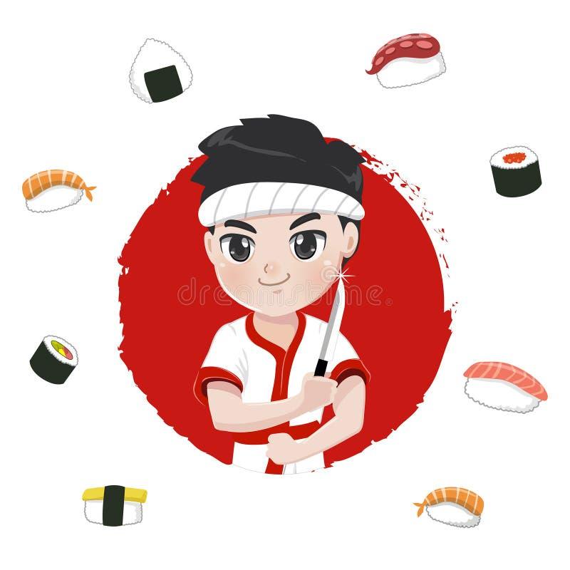 Logotipo bonito do cozinheiro chefe de sushi do caráter ilustração do vetor