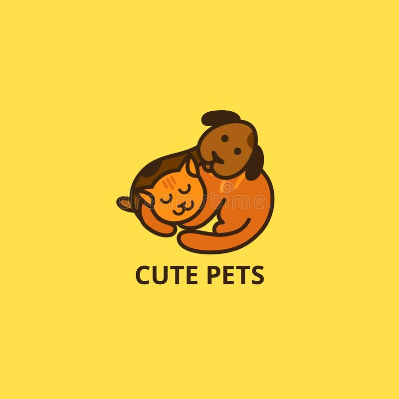 Logotipo bonito do gato e do cão dos desenhos animados Ícone sonolento do vetor dos animais de estimação Pouco cachorrinho e Kitt ilustração royalty free