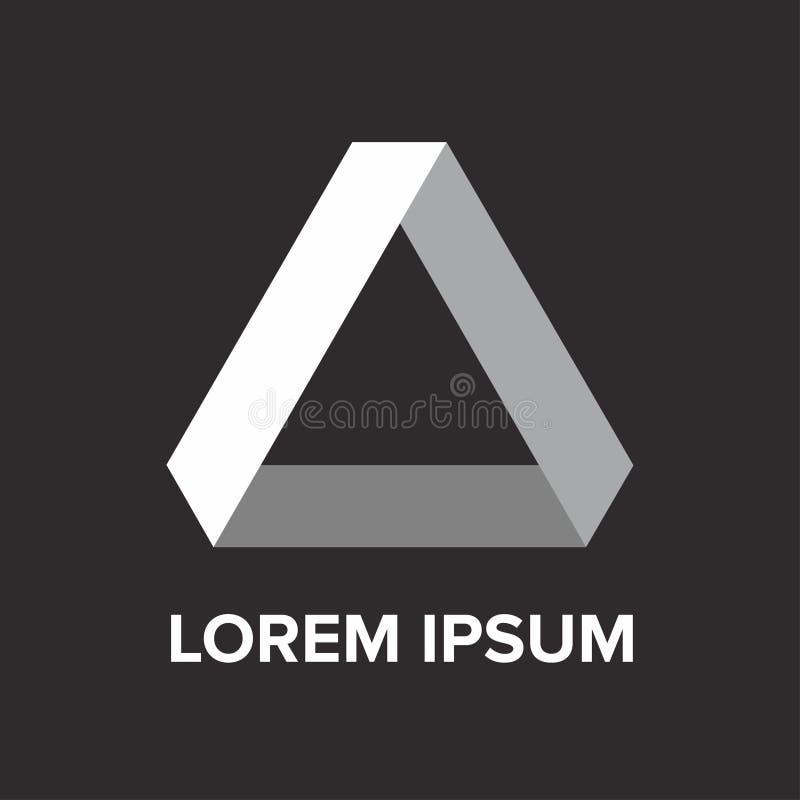 Logotipo branco do triângulo do inclinação abstrato foto de stock