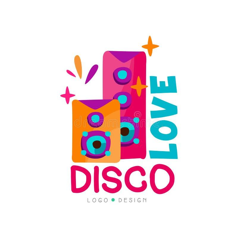 Logotipo brilhante com subwoofers Música do disco do amor Sistema audio de alta potência preto Vector o emblema para o estúdio do ilustração royalty free