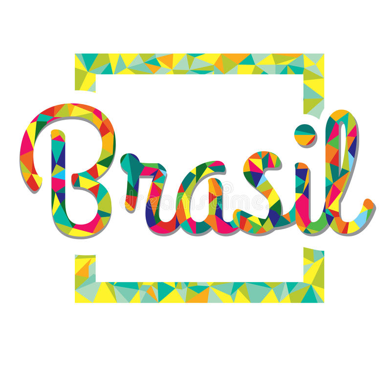 Logotipo brilhante da cor ao estilo de baixo Brasil poli ilustração royalty free