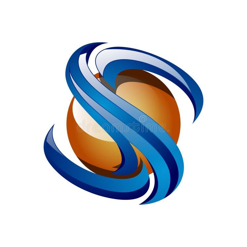 Logotipo brilhante do Internet da tecnologia da bola da inicial 3D da letra de S ilustração do vetor