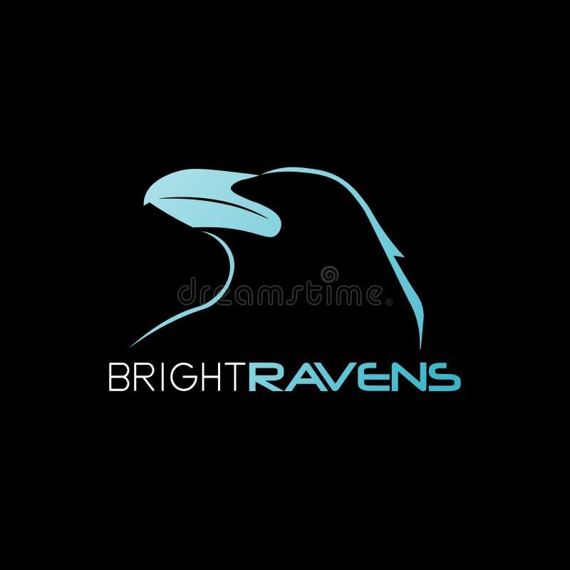 Logotipo brillante 01 de la marca del extracto del cuervo stock de ilustración
