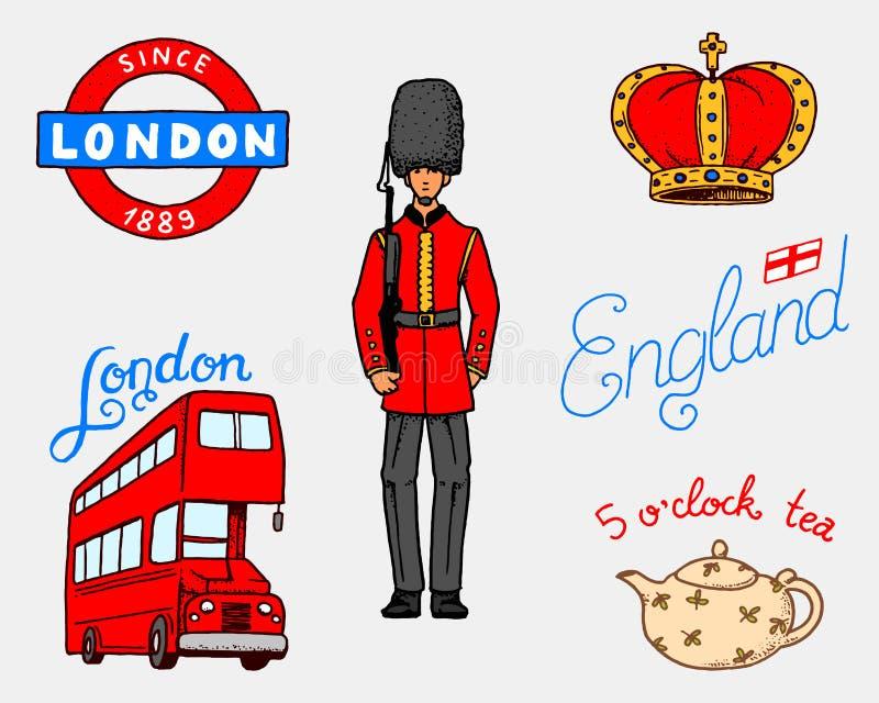 Logotipo británico, corona y reina, tetera con té, autobús y guardia real, Londres y los caballeros símbolos, insignias o sellos libre illustration